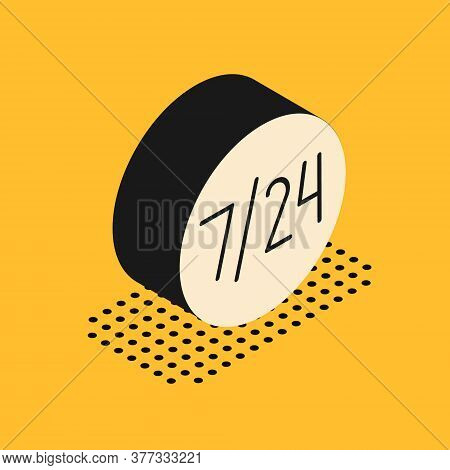Isometric Clock 24 Hours Icon Isolated On Yellow Background. All Day Cyclic Icon. 24 Hours Service S