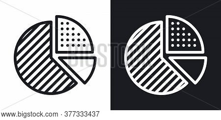 Pie Chart Icon. Simple Two-tone Vector Illustration On Black And White Background