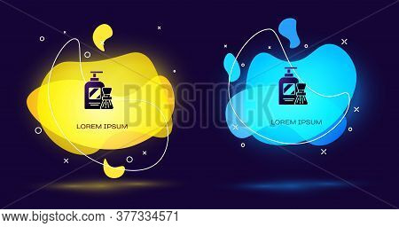 Black Shaving Gel Foam And Brush Icon Isolated On Black Background. Shaving Cream. Abstract Banner W