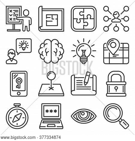 Quest Icons Set On White Background. Line Style Vector