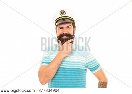 Beard Rule. Happy Sailor With Hipster Beard. Bearded Man In Navy Uniform Isolated On White. Barbersh