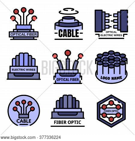 Optical Fiber Logo Set. Outline Set Of Optical Fiber Vector Logo Thin Line Color Flat On White