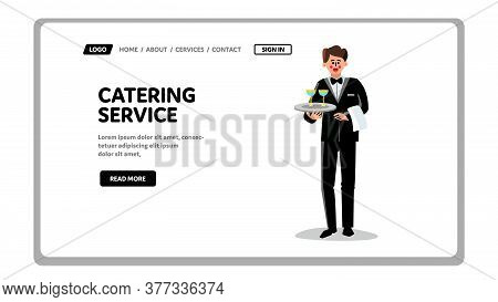 Catering Service Worker With Drinks On Tray Vector
