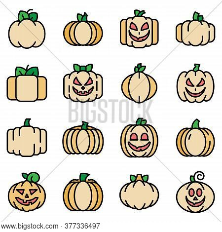 Pumpkin Icons Set. Outline Set Of Pumpkin Vector Icons Thin Line Color Flat On White