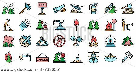 Wildfire Icons Set. Outline Set Of Wildfire Vector Icons Thin Line Color Flat On White