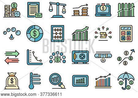 Credit Score Icons Set. Outline Set Of Credit Score Vector Icons Thin Line Color Flat On White