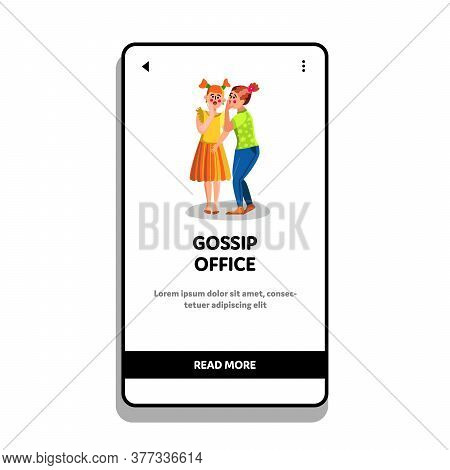 Gossip Office Woman Whispering Secret Ear Vector