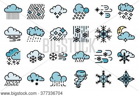 Blizzard Icons Set. Outline Set Of Blizzard Vector Icons Thin Line Color Flat On White