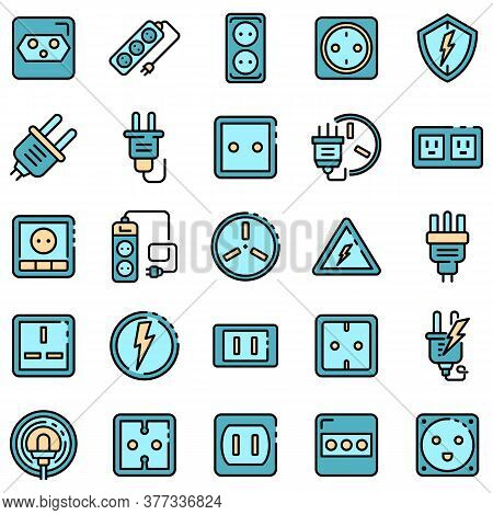 Power Socket Icons Set. Outline Set Of Power Socket Vector Icons Thin Line Color Flat On White
