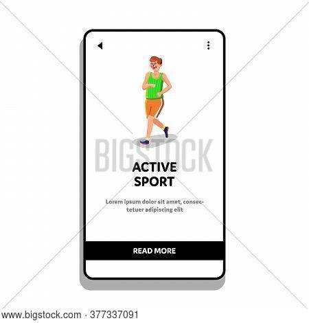 Active Sport Athlete Man Jogging Or Running Vector