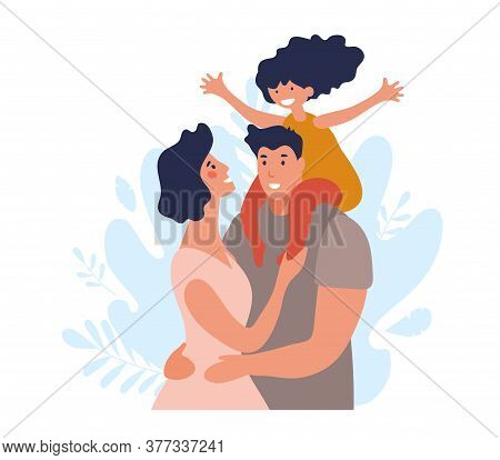 Portrait Of A Happy Family With A Child. A Man And A Woman Hug And Take Care Of Their Daughter. Simp