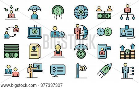 Financial Advisor Icons Set. Outline Set Of Financial Advisor Vector Icons Thin Line Color Flat On W