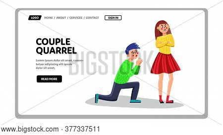 Couple Quarrel And Apology Family Relation Vector