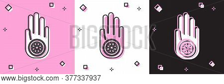 Set Symbol Of Jainism Or Jain Dharma Icon Isolated On Pink And White, Black Background. Religious Si