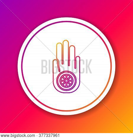 Color Line Symbol Of Jainism Or Jain Dharma Icon Isolated On Color Background. Religious Sign. Symbo