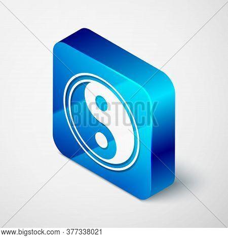 Isometric Yin Yang Symbol Of Harmony And Balance Icon Isolated On Grey Background. Blue Square Butto