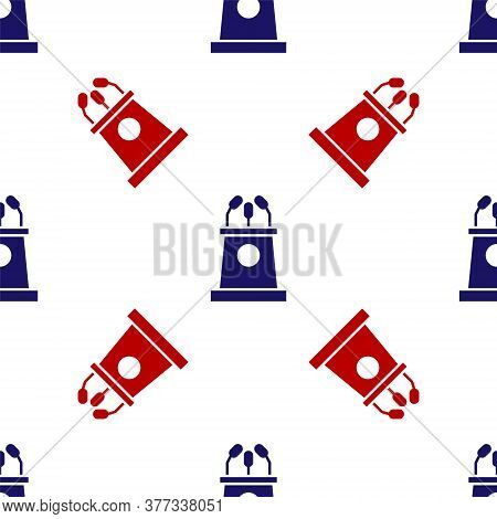 Blue And Red Stage Stand Or Debate Podium Rostrum Icon Isolated Seamless Pattern On White Background
