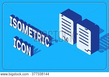 Isometric The Commandments Icon Isolated On Blue Background. Gods Law Concept. Vector Illustration