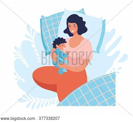 A Young Mother Sleeps With A Newborn Baby. Joint Sleep With A Baby. The Woman Sleeps, Smiles And Hug
