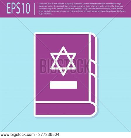 Retro Purple Jewish Torah Book Icon Isolated On Turquoise Background. On The Cover Of The Bible Is T