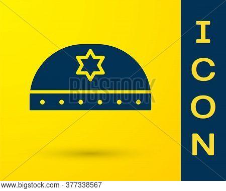 Blue Jewish Kippah With Star Of David Icon Isolated On Yellow Background. Jewish Yarmulke Hat. Vecto