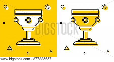 Black Christian Chalice Icon Isolated On Yellow And White Background. Christianity Icon. Happy Easte