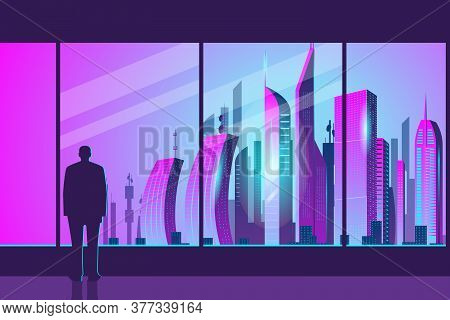 A Mans Silhouette Stands At The Glass In The Office And Admires The Dawn In The City. City Of The Fu