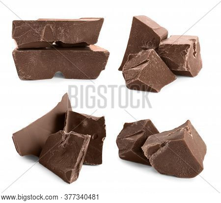 Set With Delicious Milk Chocolate Chunks On White Background