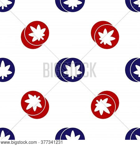 Blue And Red Herbal Ecstasy Tablets Icon Isolated Seamless Pattern On White Background. Vector Illus