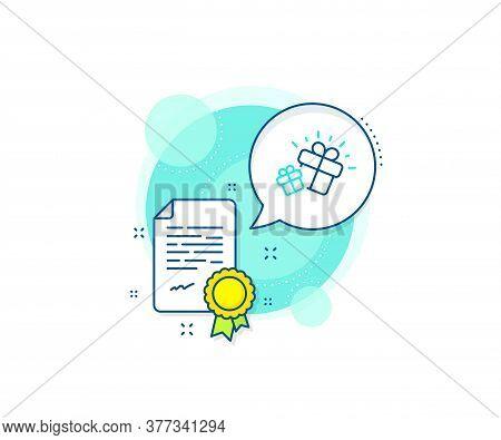 Present Box Sign. Certification Complex Icon. Gifts Line Icon. Brand Marketing Symbol. Certificate O