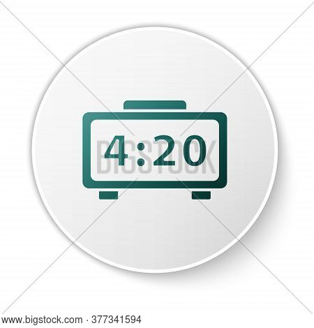 Green Digital Alarm Clock Icon Isolated On White Background. Electronic Watch Alarm Clock. Time Icon