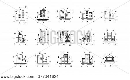 Bank, Hotel, Courthouse. Buildings Line Icons. City, Real Estate, Architecture Buildings Icons. Hosp