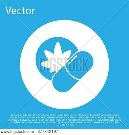 Blue Herbal Ecstasy Tablets Icon Isolated On Blue Background. White Circle Button. Vector Illustrati