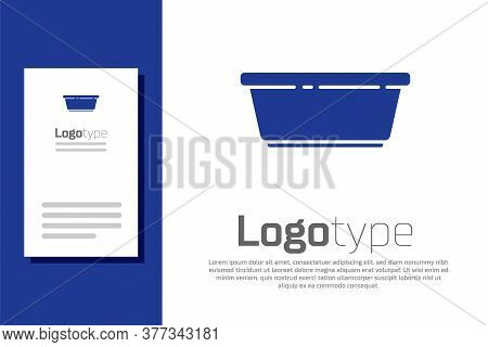 Blue Plastic Basin Icon Isolated On White Background. Bowl With Water. Washing Clothes, Cleaning Equ