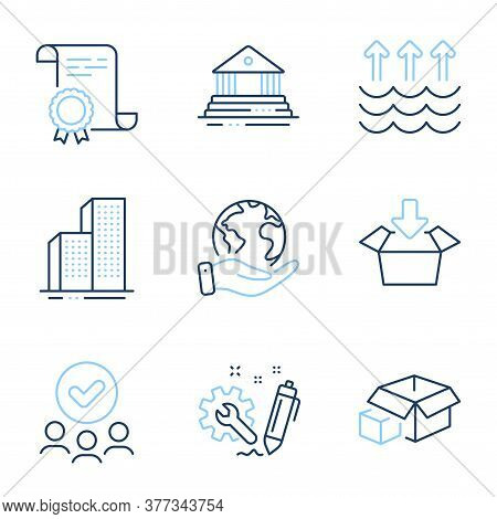 Evaporation, Skyscraper Buildings And Court Building Line Icons Set. Diploma Certificate, Save Plane
