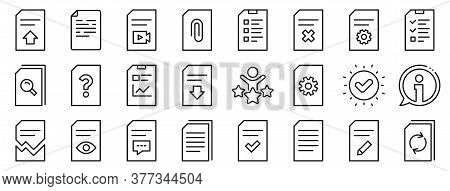 Set Of Report, Checklist And Copy Icons. Document Management Line Icons. Download File, Remove And A