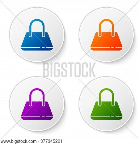 Color Handbag Icon Isolated On White Background. Female Handbag Sign. Glamour Casual Baggage Symbol.
