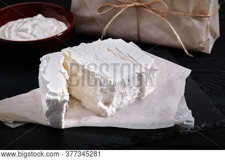 Homemade Cheese, Milk And Cottage Cheese On A Wooden Background. Rustic Style. Set Of Dairy Products
