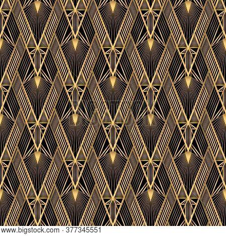Art Deco Pattern. Vector Gold Black Background