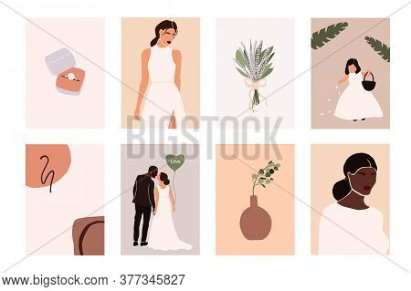 Abstract Wedding Couple Groom And Bride, Woman Portraits, Bouquets Holiday Cards Isolated. Fashion M