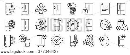 Refrigerator, Freezer Storage, Smart Fridge Machine. Fridge Line Icons. Water With Ice, Cooler Box,