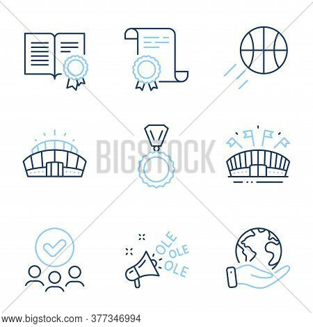 Medal, Diploma And Sports Arena Line Icons Set. Diploma Certificate, Save Planet, Group Of People. B