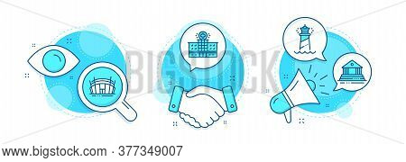 Hospital Building, Court Building And Arena Stadium Line Icons Set. Handshake Deal, Research And Pro
