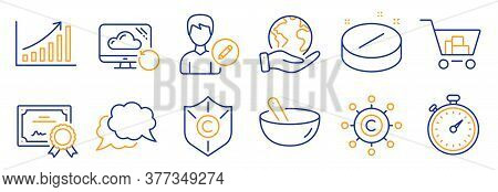 Set Of Business Icons, Such As Cooking Mix, Medical Tablet. Certificate, Save Planet. Timer, Chat Me