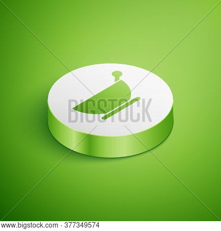 Isometric Mortar And Pestle Icon Isolated On Green Background. White Circle Button. Vector Illustrat