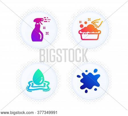 Cleaning Spray, Water Splash And Hand Washing Icons Simple Set. Button With Halftone Dots. Dirty Spo