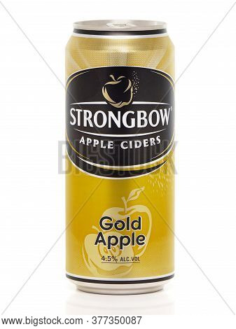 Bucharest, Romania - August 12, 2015. Can Of Strongbow Gold Apple, Apple Cider, Isolated On White