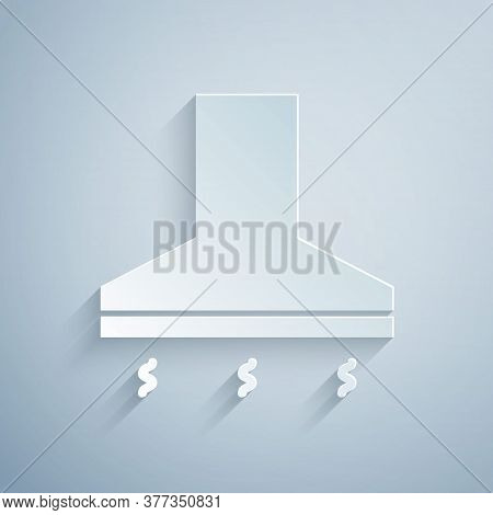 Paper Cut Kitchen Extractor Fan Icon Isolated On Grey Background. Cooker Hood. Kitchen Exhaust. Hous