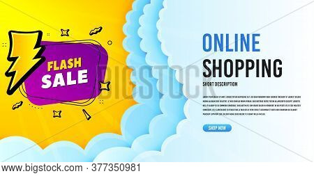 Flash Sale Badge. Clouds Banner Template. Discount Banner Shape. Coupon Bubble Icon. Online Shopping