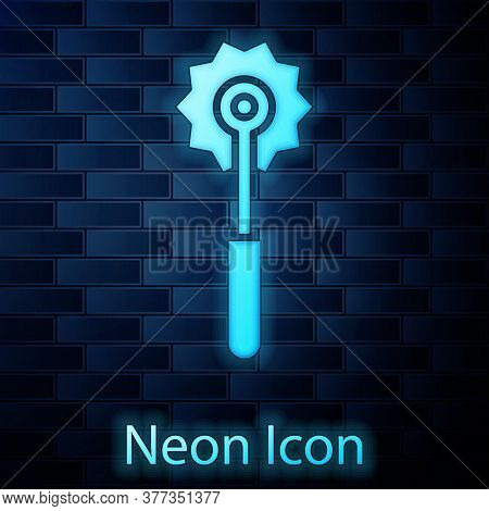 Glowing Neon Pizza Knife Icon Isolated On Brick Wall Background. Pizza Cutter Sign. Steel Kitchenwar